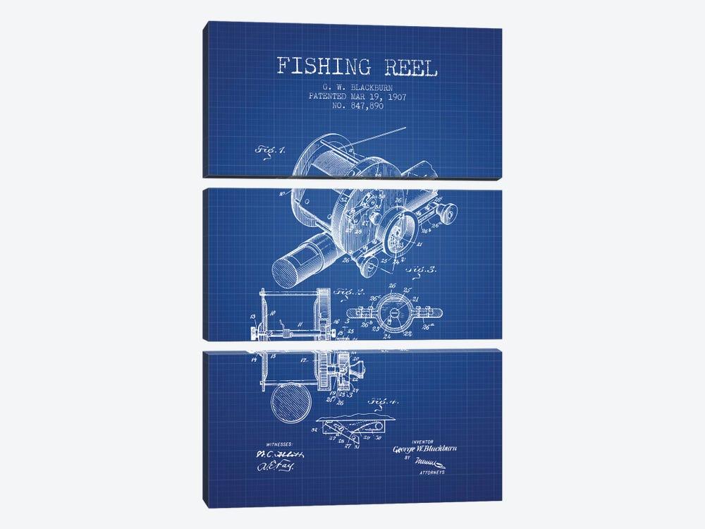 G.W. Blackburn Fishing Reel Patent Sketch (Blue Grid) by Aged Pixel 3-piece Canvas Art