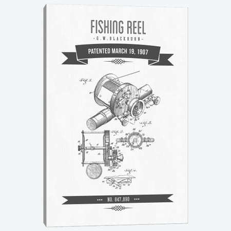 G.W. Blackburn Fishing Reel Patent Sketch Retro (Charcoal) Canvas Print #ADP2925} by Aged Pixel Canvas Art