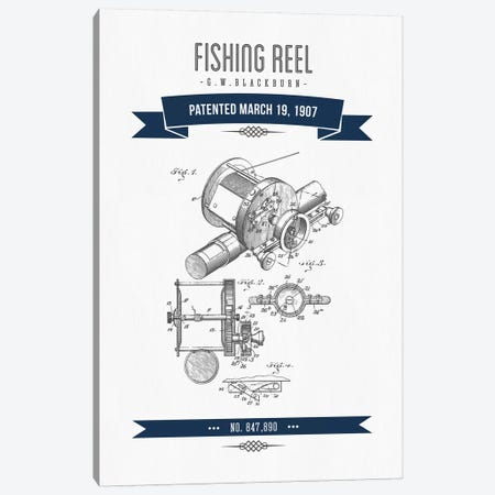 G.W. Blackburn Fishing Reel Patent Sketch Retro (Navy Blue) Canvas Print #ADP2926} by Aged Pixel Canvas Art