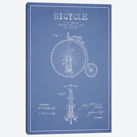 G.W. Marble Bicycle Patent Sketch (Light Blue) Canvas Print #ADP2927} by Aged Pixel Canvas Art