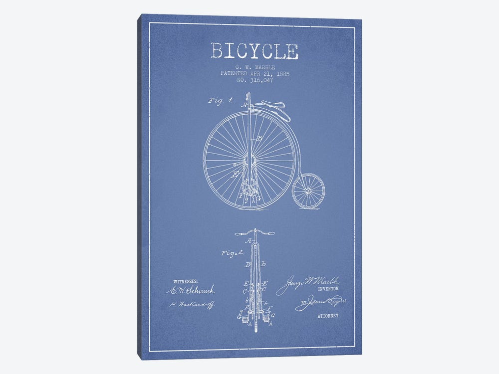 G.W. Marble Bicycle Patent Sketch (Light Blue) by Aged Pixel 1-piece Canvas Art Print