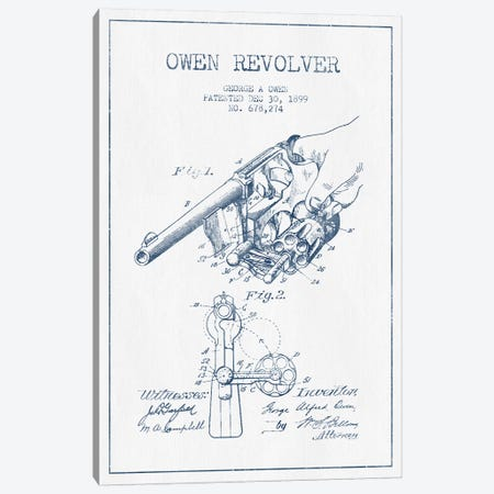 George A. Owen Revolver Ink Patent Sketch (Ink) Canvas Print #ADP2928} by Aged Pixel Canvas Print