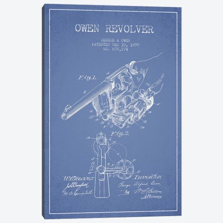 George A. Owen Revolver Ink Patent Sketch (Light Blue) Canvas Print #ADP2929} by Aged Pixel Canvas Print
