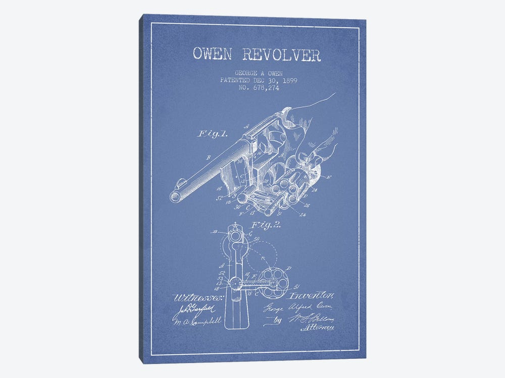George A. Owen Revolver Ink Patent Sketch (Light Blue) by Aged Pixel 1-piece Canvas Print
