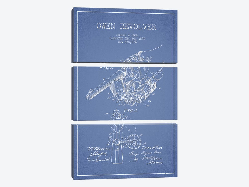 George A. Owen Revolver Ink Patent Sketch (Light Blue) by Aged Pixel 3-piece Canvas Print