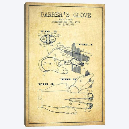 Barber's Glove Vintage Patent Blueprint Canvas Print #ADP292} by Aged Pixel Canvas Art