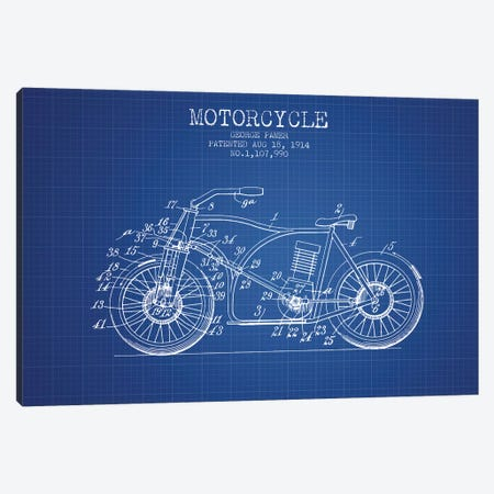 George Pamer Motorcycle Patent Sketch (Blue Grid) Canvas Print #ADP2930} by Aged Pixel Canvas Artwork