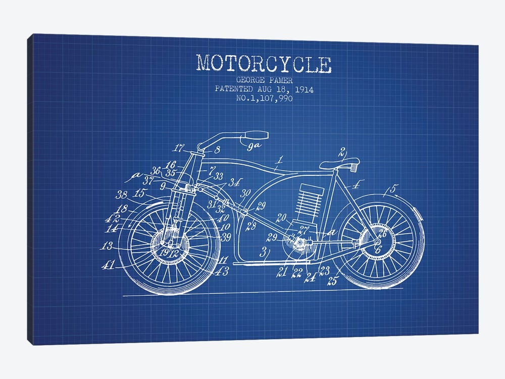 George Pamer Motorcycle Patent Sketch (Blue Grid) by Aged Pixel 1-piece Art Print