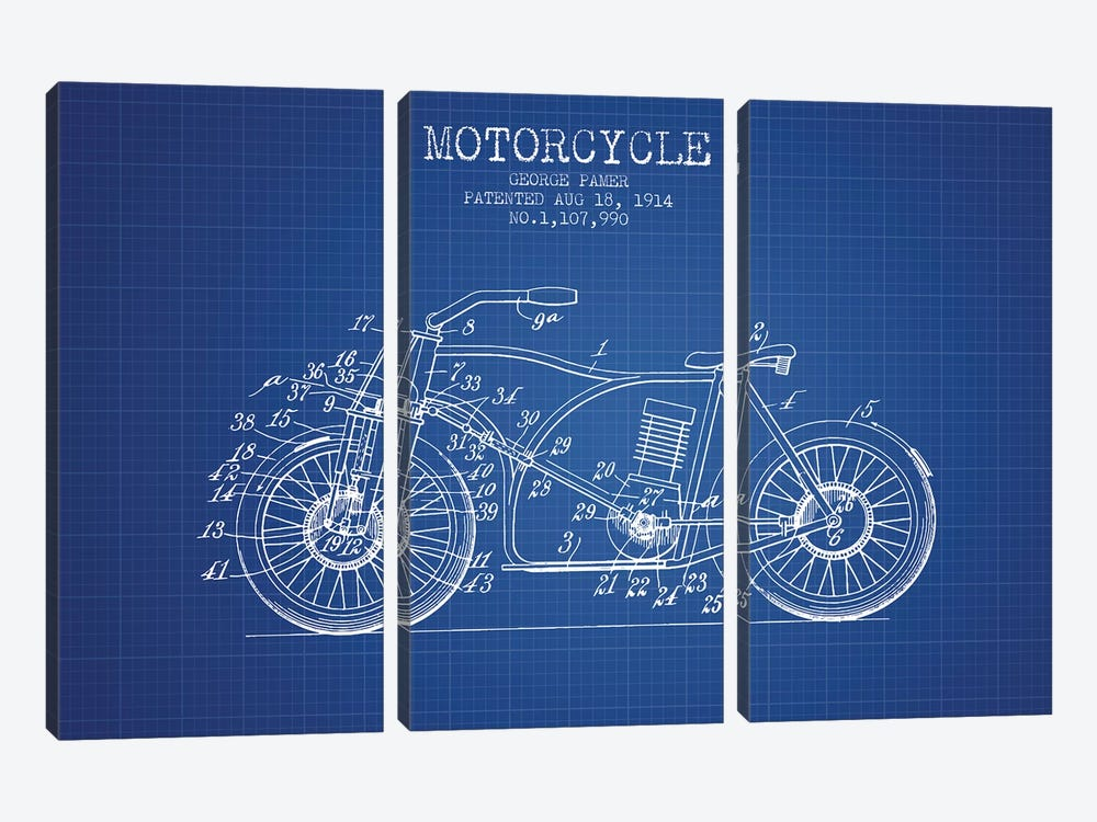George Pamer Motorcycle Patent Sketch (Blue Grid) by Aged Pixel 3-piece Canvas Art Print