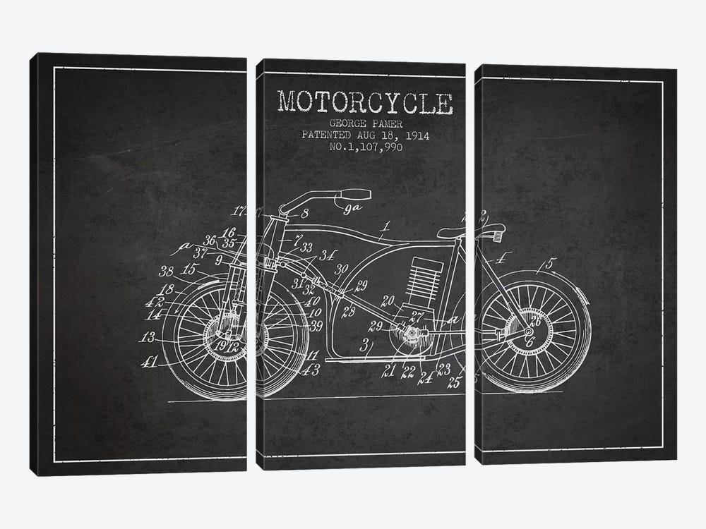 George Pamer Motorcycle Patent Sketch (Charcoal) by Aged Pixel 3-piece Canvas Wall Art