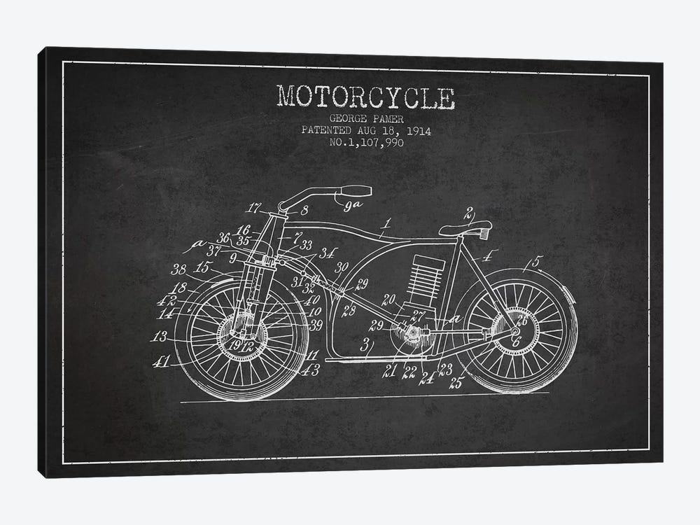 George Pamer Motorcycle Patent Sketch (Charcoal) by Aged Pixel 1-piece Canvas Wall Art