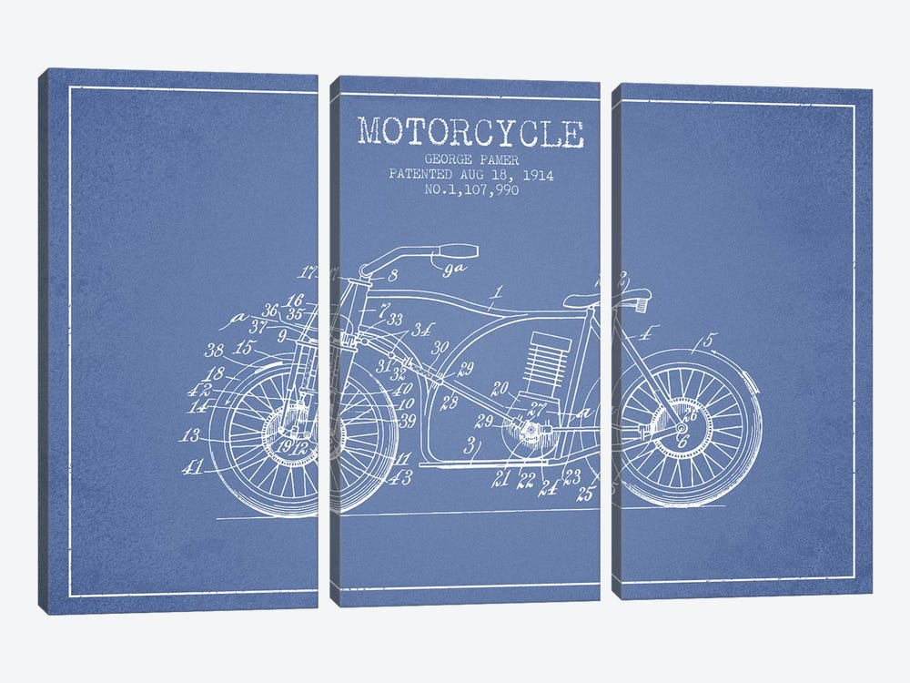 George Pamer Motorcycle Patent Sketch (Light Blue) by Aged Pixel 3-piece Art Print
