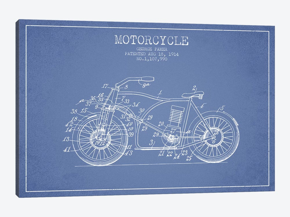 George Pamer Motorcycle Patent Sketch (Light Blue) by Aged Pixel 1-piece Canvas Print