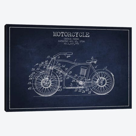 George Pamer Motorcycle Patent Sketch (Navy Blue) Canvas Print #ADP2933} by Aged Pixel Canvas Wall Art