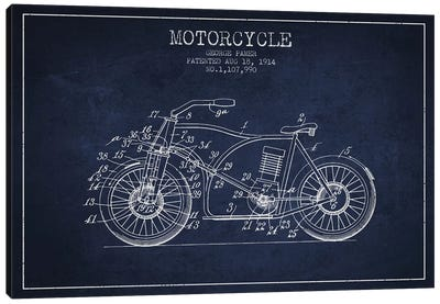 George Pamer Motorcycle Patent Sketch (Navy Blue) Canvas Art Print