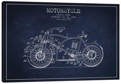 George Pamer Motorcycle Patent Sketch (Navy Blue) Canvas Art Print