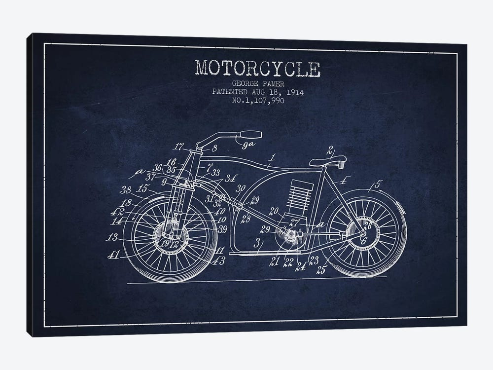 George Pamer Motorcycle Patent Sketch (Navy Blue) by Aged Pixel 1-piece Canvas Artwork
