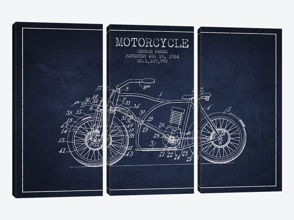 George Pamer Motorcycle Patent Sketch (Navy Blue) by Aged Pixel 3-piece Canvas Artwork