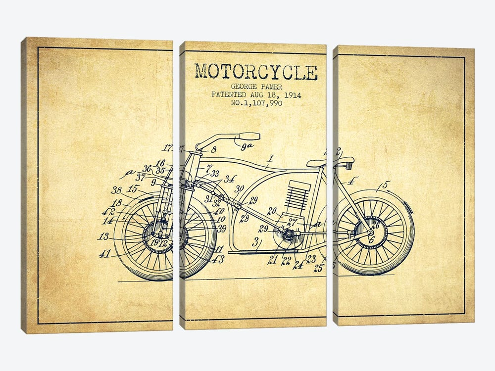 George Pamer Motorcycle Patent Sketch (Vintage) by Aged Pixel 3-piece Canvas Art Print