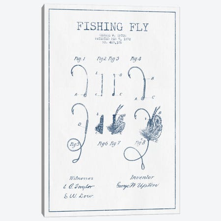 George W. Upton Fishing Fly Patent Sketch (Ink) Canvas Print #ADP2935} by Aged Pixel Canvas Print