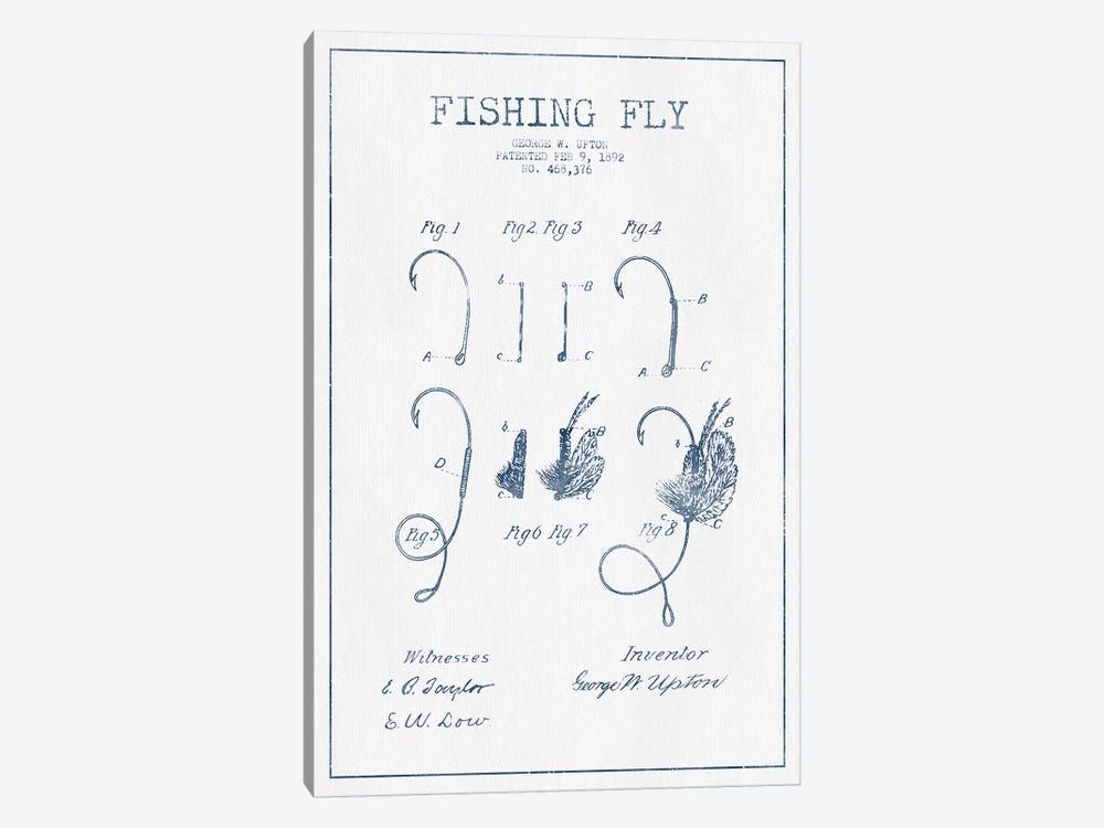 George W. Upton Fishing Fly Patent Sketch (Ink) by Aged Pixel 1-piece Canvas Wall Art