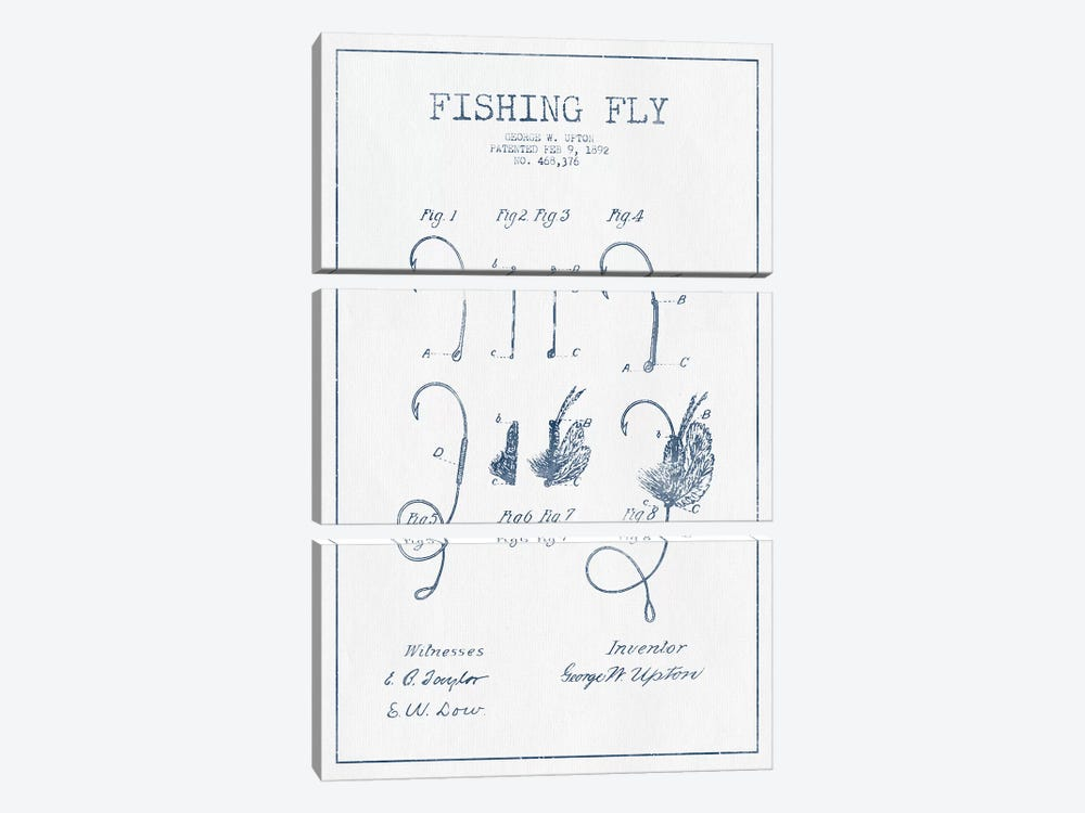 George W. Upton Fishing Fly Patent Sketch (Ink) by Aged Pixel 3-piece Canvas Wall Art