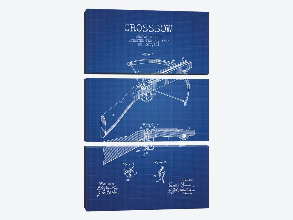 Gustav Bruder Crossbow Patent Sketch (Blue Grid) by Aged Pixel 3-piece Canvas Wall Art