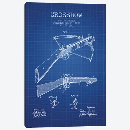 Gustav Bruder Crossbow Patent Sketch (Blue Grid) Canvas Print #ADP2937} by Aged Pixel Canvas Art Print