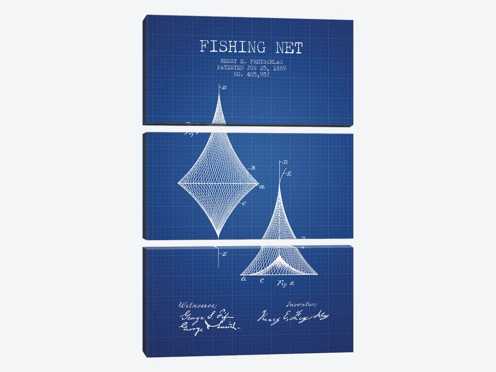H.E. Freyschlag Fishing Net Patent Sketch (Blue Grid) by Aged Pixel 3-piece Canvas Art