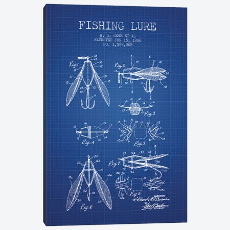 H.G. Gere, et al. Fishing Lure Patent Sketch (Blue Grid) Canvas Print #ADP2940} by Aged Pixel Art Print