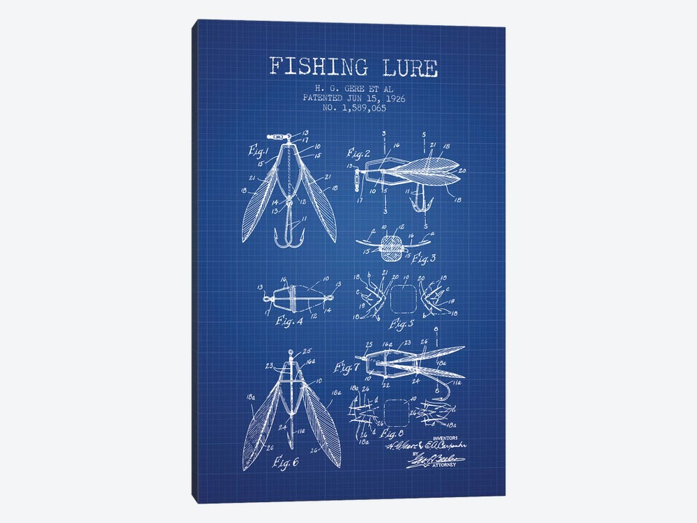 H.G. Gere, et al. Fishing Lure Patent Sketch (Blue Grid) by Aged Pixel 1-piece Canvas Artwork