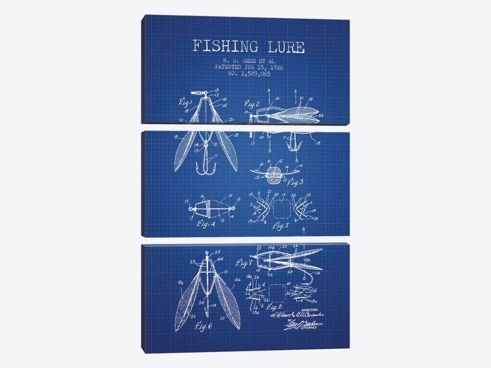 H.G. Gere, et al. Fishing Lure Patent Sketch (Blue Grid) by Aged Pixel 3-piece Canvas Art