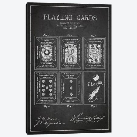 Hammatt Billings Playing Cards Patent Sketch (Charcoal) Canvas Print #ADP2941} by Aged Pixel Art Print