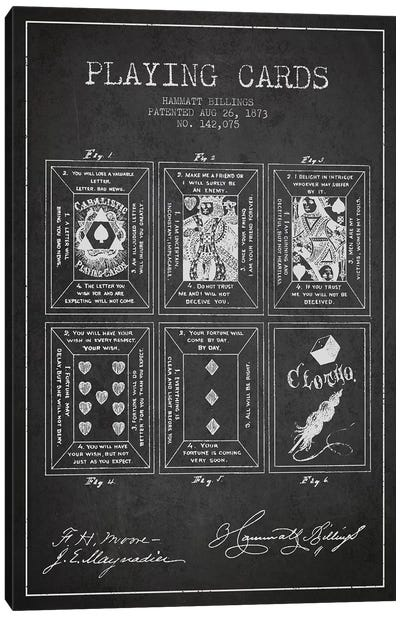 Hammatt Billings Playing Cards Patent Sketch (Charcoal) Canvas Art Print