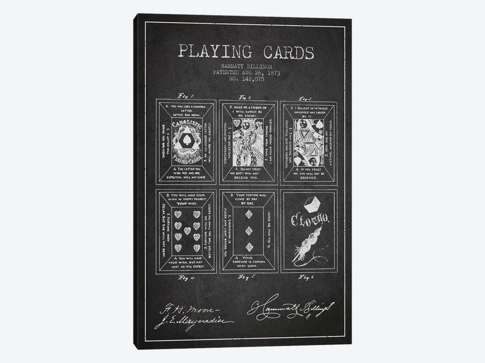 Hammatt Billings Playing Cards Patent Sketch (Charcoal) by Aged Pixel 1-piece Canvas Art Print