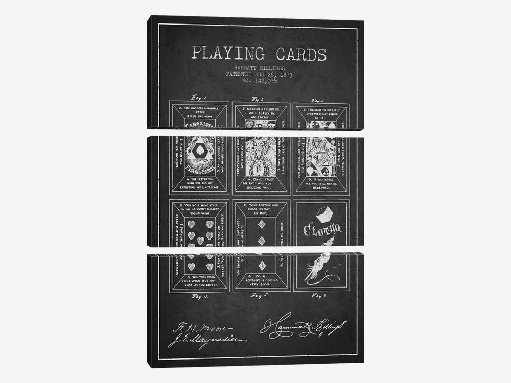 Hammatt Billings Playing Cards Patent Sketch (Charcoal) by Aged Pixel 3-piece Canvas Art Print