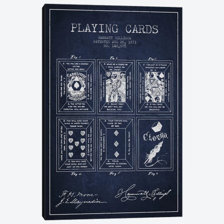 Hammatt Billings Playing Cards Patent Sketch (Navy Blue) Canvas Print #ADP2942} by Aged Pixel Canvas Art Print