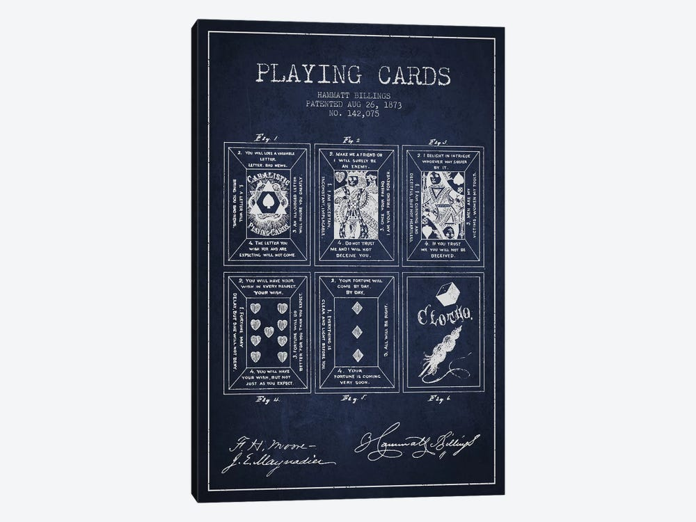 Hammatt Billings Playing Cards Patent Sketch (Navy Blue) by Aged Pixel 1-piece Canvas Artwork