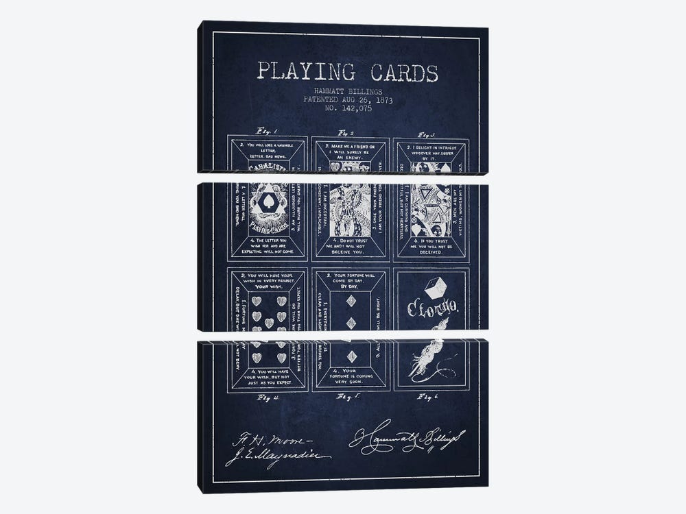 Hammatt Billings Playing Cards Patent Sketch (Navy Blue) by Aged Pixel 3-piece Canvas Art