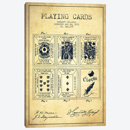 Hammatt Billings Playing Cards Patent Sketch (Vintage) Canvas Print #ADP2943} by Aged Pixel Canvas Art Print