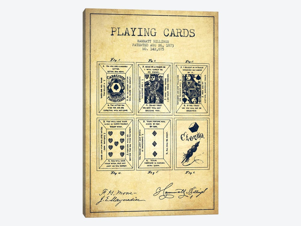 Hammatt Billings Playing Cards Patent Sketch (Vintage) by Aged Pixel 1-piece Canvas Print