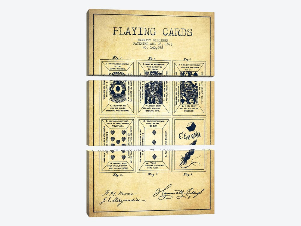 Hammatt Billings Playing Cards Patent Sketch (Vintage) by Aged Pixel 3-piece Canvas Art Print
