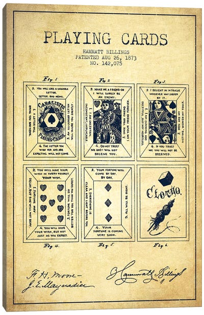 Hammatt Billings Playing Cards Patent Sketch (Vintage) Canvas Art Print