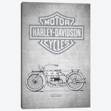 Harley-Davidson Motorcycles (Gray Vintage) I Canvas Print #ADP2944} by Aged Pixel Canvas Art