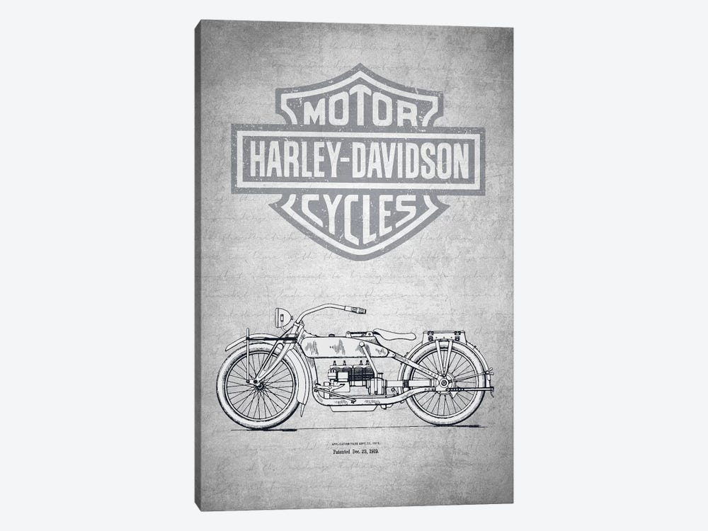 Harley-Davidson Motorcycles (Gray Vintage) I by Aged Pixel 1-piece Canvas Art