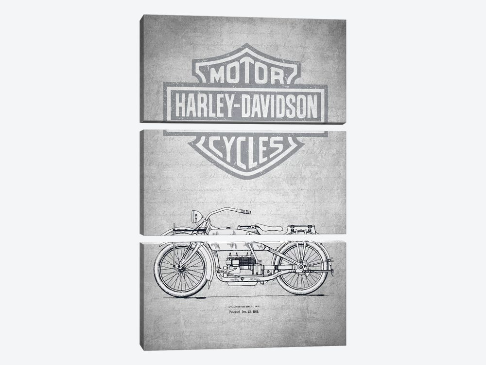Harley-Davidson Motorcycles (Gray Vintage) I by Aged Pixel 3-piece Canvas Artwork