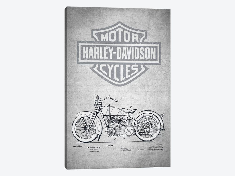 Harley-Davidson Motorcycles (Gray Vintage) II by Aged Pixel 1-piece Art Print