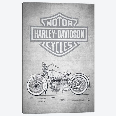 Harley-Davidson Motorcycles (Gray Vintage) II Canvas Print #ADP2945} by Aged Pixel Canvas Art