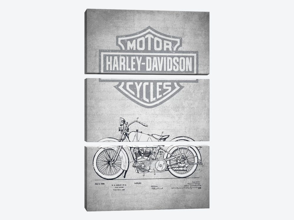 Harley-Davidson Motorcycles (Gray Vintage) II by Aged Pixel 3-piece Canvas Print
