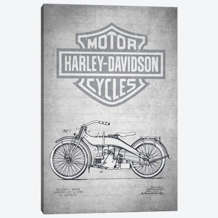 Harley-Davidson Motorcycles (Gray Vintage) III Canvas Print #ADP2946} by Aged Pixel Canvas Art